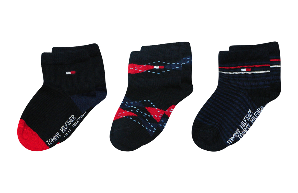 3 paar tommy hilfiger baby m dchen jungen socken geschenkbox gr e 15 18 19 22 ebay. Black Bedroom Furniture Sets. Home Design Ideas