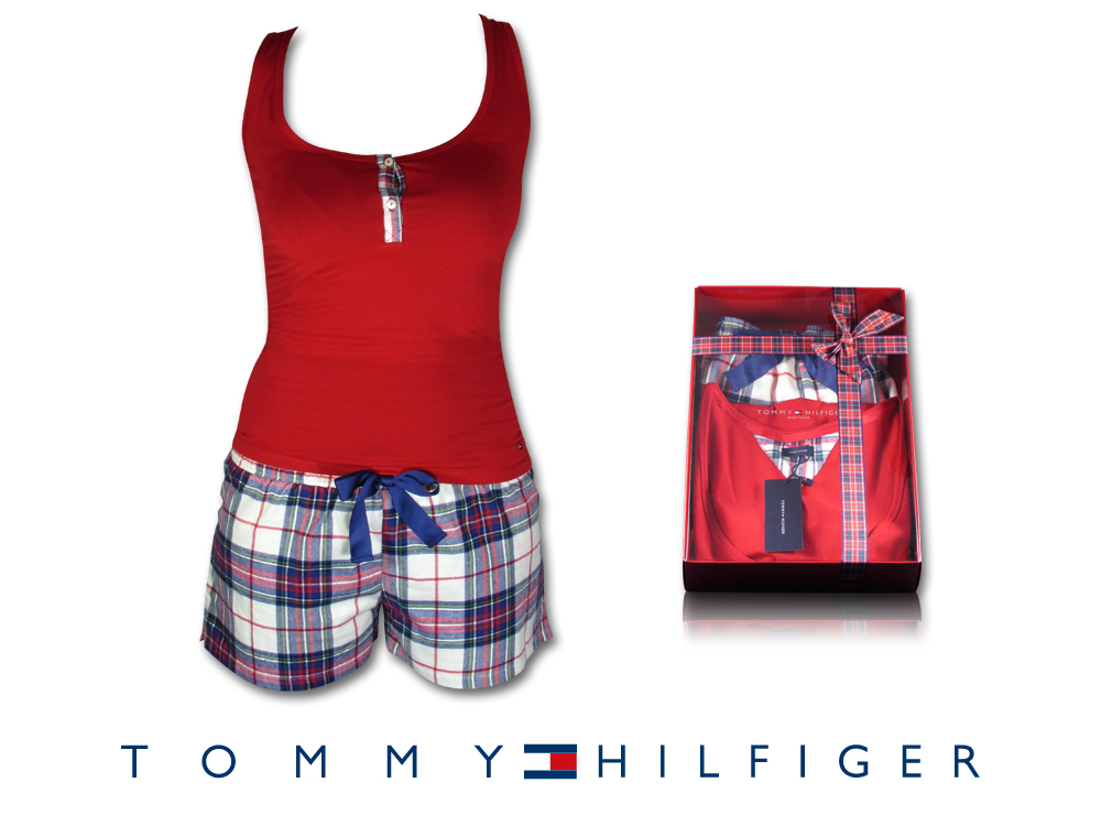 tommy hilfiger damen schlafanzug nachtw sche flannel top hose s m l xl rot karo ebay. Black Bedroom Furniture Sets. Home Design Ideas